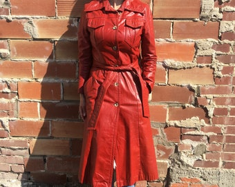 vintage red leather trench coat, long leather coat, belted leather coat, jacket with belt, 70s leather jacket - 70s