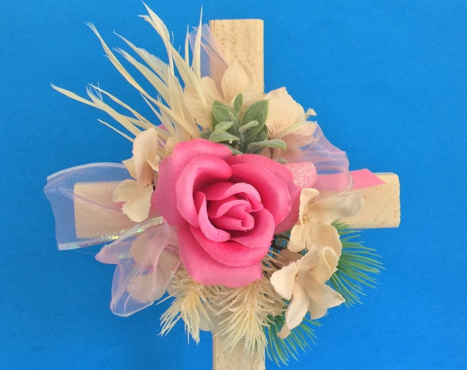 Cemetery cross, grave decoration, memorial cross, Floral Memorial, cemetery flowers, flowers for grave, memorial flowers