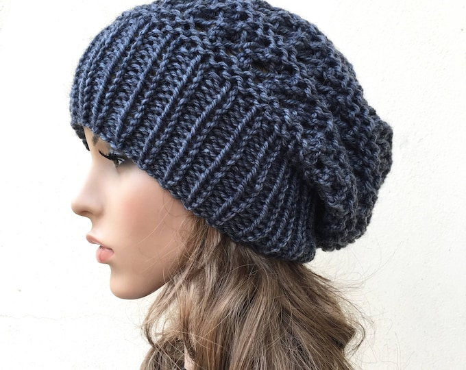 Hand knit woman men unsex hat Oversized Chunky Wool slouchy hat Charcoal