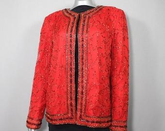 SALE...RED Silk Beaded Evening Jacket