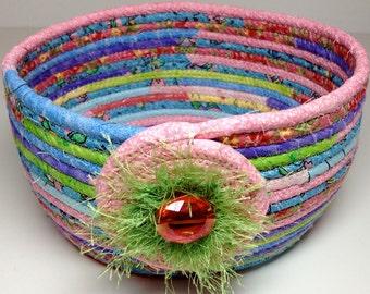 Easter Basket Coiled Rope Clothesline Soft Pastel Colors