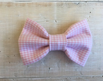 Pink Gingham Check Dog Bow Tie