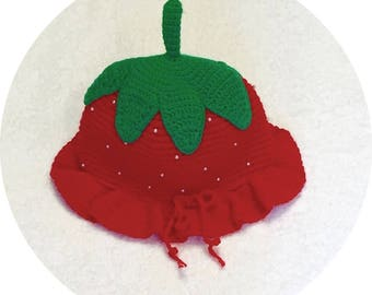 Red Crocheted Strawberry Hats.