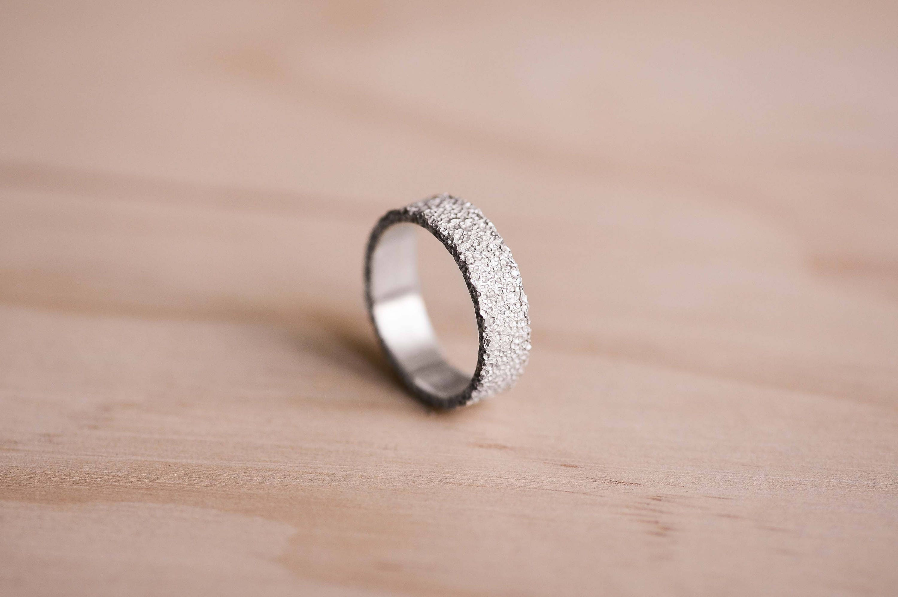 Volcanic Rock Texture Argentium Silver Ring 100% Recycled
