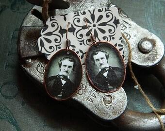 Poe earrings Edgar Allan Poe mixed media jewelry literature jewelry