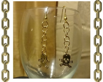 Gold Cut-Out Skull Earrings - 1 Pair