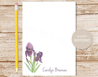 personalized iris notepad . purple iris note pad . personalized stationery . flower stationary . floral notepad
