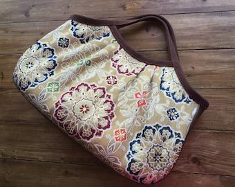 Japanese kimono obi , granny bag , gold