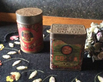 Vintage food advertising tins