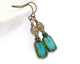 Teal Blue Earrings - Picasso Rectangle Glass - Yoga Earrings - Antiqued Gold Beads - Short Boho Earrings