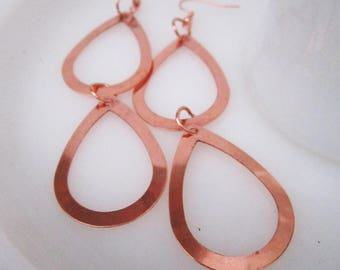 Sale!  Egouttage Earrings - minimalist copper teardrop earrings