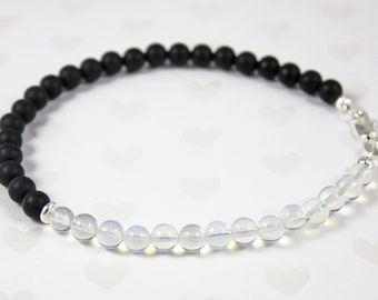 Opalite, Matte Onyx October Birthstone and Sterling Silver Anklet
