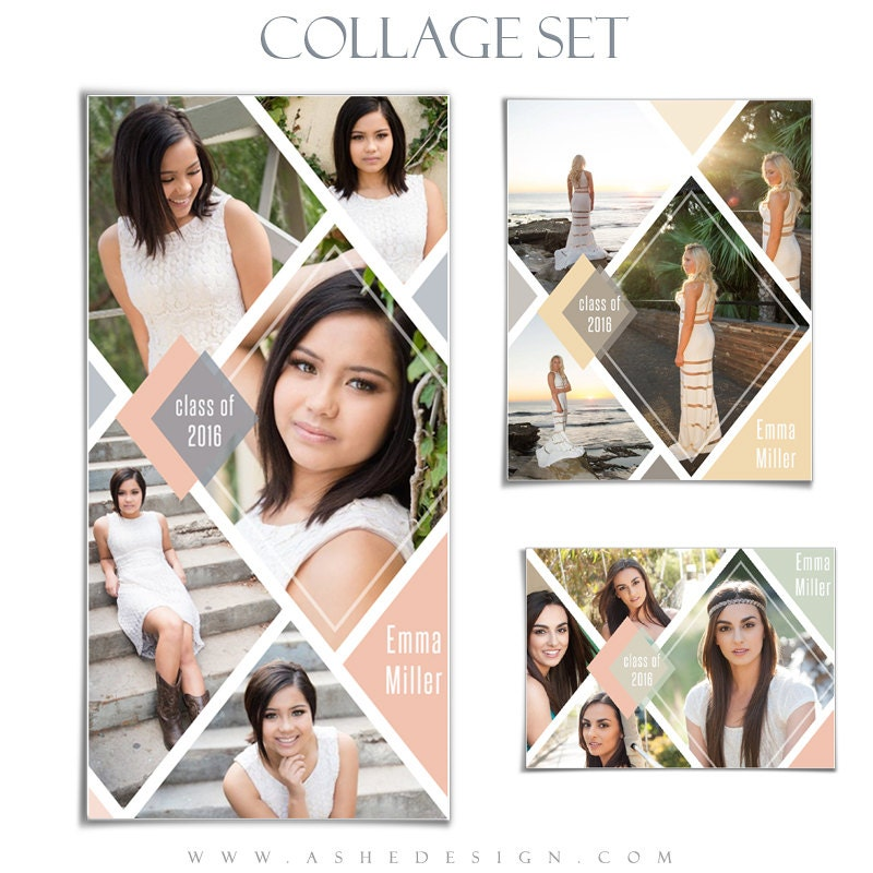 SENIOR Collage Template Set - DIAMONDS - (3) Photoshop Collage ...
