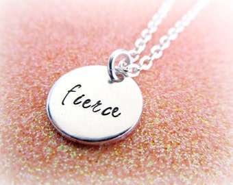 FIERCE Necklace - Hand Stamped Fierce Charm Necklace - Diva Necklace - Women's Jewelry - Women's Necklace - Silver Necklace