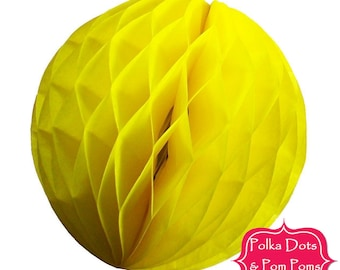 Birthday Party Decoration Ideas & Supplies / 29cm YELLOW Tissue Paper Honeycomb Balls / LARGE / Wedding / Baby Shower