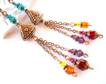 Colorful Beaded Copper Earrings Dangle with Multi Colored Glass Beads Featuring Copper Beads and Chain-Colorful Bead Jewelry