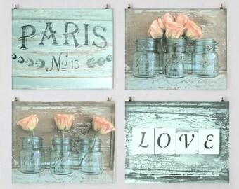 Shabby Cottage Chic Paris Photo Set, Aqua Art, Romantic Prints, Peach Rose Photo, Mason Jars, Rustic French Country Decor, Wall Art Gallery