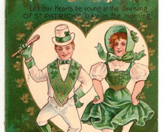 Vintage Postcard, St Patricks Day, Irish Hearts, Lad and Lass, White hearted Moon, ca 1910