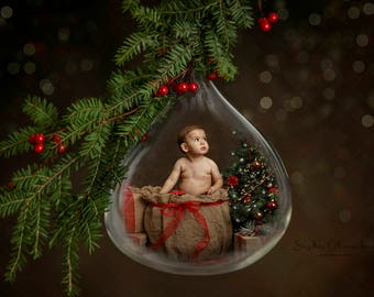 Digital backdrop, background newborn baby girl boy hanging Christmas ornament   glass drop toddler  dark brown snow globe