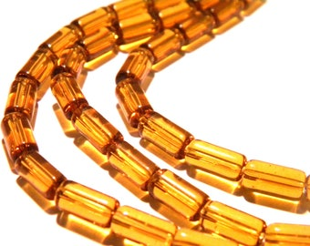 60 beads tube translucent glass - 9 x 4 mm - amber - Pearl translucent glass - bead tube - G97-5