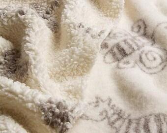 ORGANIC FABRIC - Zoo Plush - cotton and wool fabric