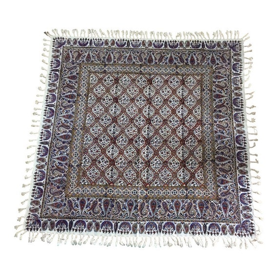 "Hand block printed Square tablecloth, 39"" inches natural dyes tapestry art with tassels"