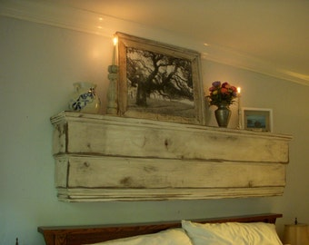 Floating Wall Mount Shelf Beach Furniture Shelves Wood Ledge Wall Mounted Rustic Cottage Chic Home Decor California Woodworker USA 48x12x7