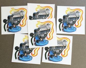 Herbert Arnold Glassblowing Torch vinyl sticker set - 6pc