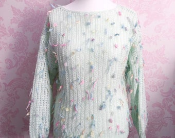 Hand Knitted Pastel Goth Fairy Kei Fluffy Jumper Size XS/S