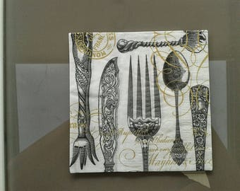 set of 2 napkins papierserviette covered old paper boxes
