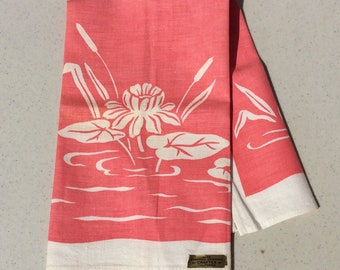 Vintage Towel Dreamy Pink Water Lilies MWT Craftex Retro Kitchen Tea Towels