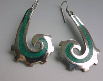 Mexico Sterling Crushed Inlay Earrings