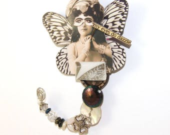 """Button Doll Wearable Art Pin, Collage Jewelry - """"Ophelia Rose"""" - OOAK Brooch"""