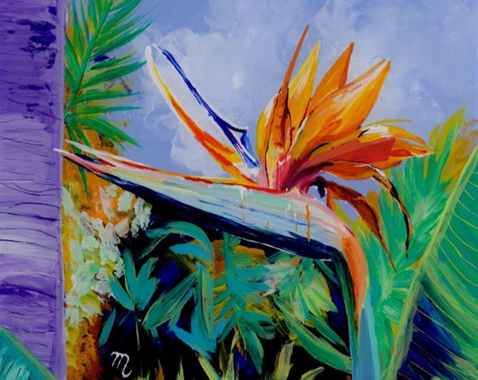 Tropical Bird of Paradise 2 Original Reverse Acrylic Painting by Marionette Kauai Hawaii Hawaiian flower Exotic Decor Hawaii Interior Design