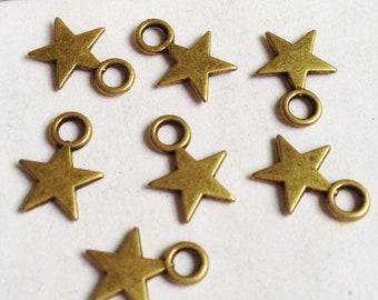 Stars Charms -100pcs Antique Bronze Mini Stars Charm Pendants 8x11mm E505-2