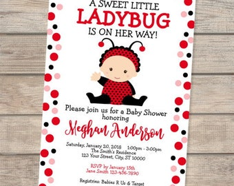 Ladybug baby shower etsy little ladybug baby shower invitation cute baby lady bug invite baby girl red ladybug filmwisefo Image collections