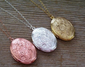 Mother's Day Gift, Rose Gold Filled Locket Necklace, Sterling Silver Locket Necklace, Floral Locket, Gold Filled Locket Necklace