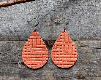 Peach Basketweave Leather Earrings