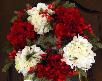 Winter Wreath , Christmas Wreath , Wreath For The Door , Christmas Hydrangea , Wreath For The Holidays