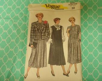 Vogue 9507  Misses Dress  Jumper ,Jacket <aternity Pattern Size 12