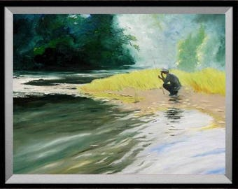 Fisherman Thinking... Painting of a friend art print Cottage Decor Rainbow and Brook Trout by Barry Singer