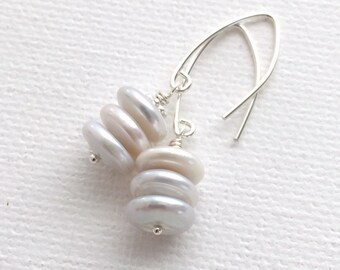 Pearl Stack Earrings with Solid Sterling Silver