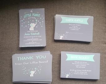 LITTLE PEANUT BABY Shower Invitation, Little Peanut Elephant Baby Shower Invitation, baby shower invitation little peanut