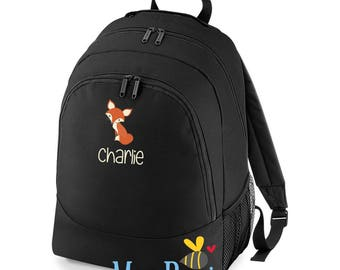 Personalised Kids Backpack, Childrens Fox Rucksack, kids bag, custom backpack, Back to School, Nursery Rucksack, personalized backpack, fox