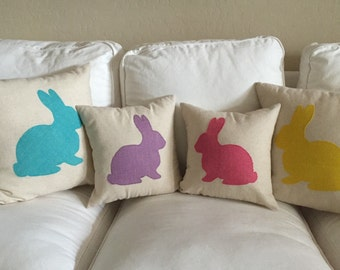 Robin Egg Blue Burlap Rabbit Pillow Cover ONLY, Easter ,Nursery Pillow Spring pillow,pink burlap,yellow burlap,lavender burlap,burlap pillow
