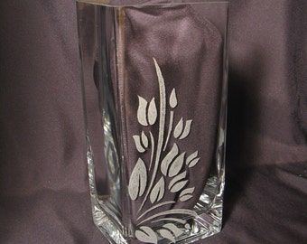 Abstract Leaf Hand Engraved Glass Vase