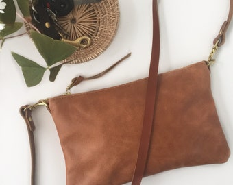 Small Leather Crossbody Bag, Leather purse, Brown leather bag, Monogrammed Leather Bag