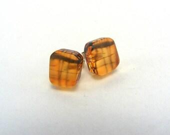 Pier Stud Earrings - Tiny Perspex Studs - Orange Post Earrings - Saltburn Pier Orange Studs -  Contemporary Perspex Jewellery
