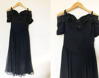 Vintage 1980's Black Pleated Off Shoulder Evening Dress with Sequins and Beads / Vintage Prom Dress / 80's Evening Dress / Formal Gown