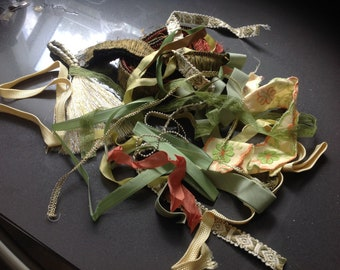 Ribbon and fabric scraps grab bag - Yellow, gold, orange, green